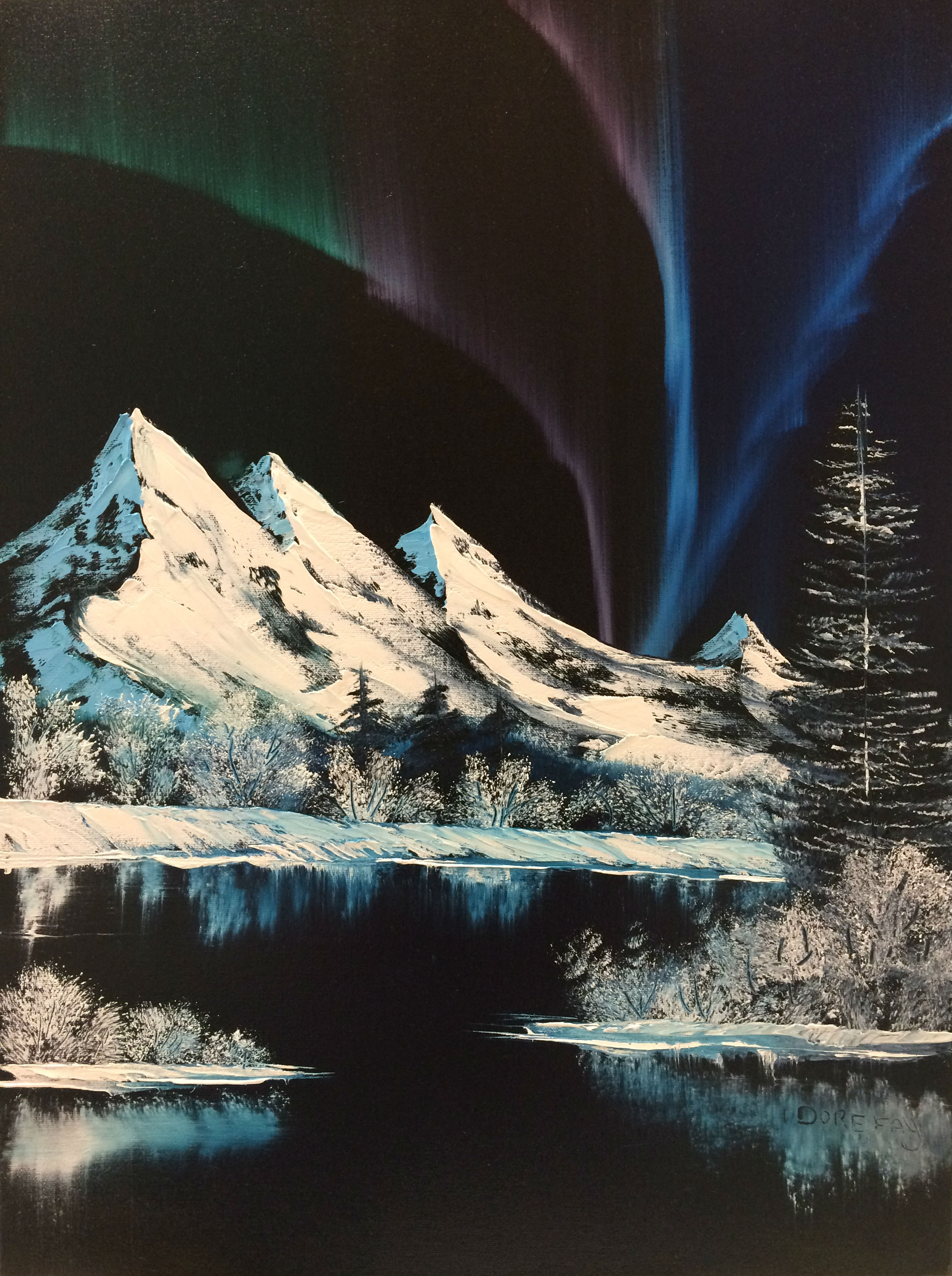 """This jaw dropping Bob Ross painting titled """"Northern Lights"""" is from Season 8 of his PBS series """"The Joy of Painting"""". This is a beautiful and fun painting to paint! From snow-covered mountains under the northern lights to the frozen lake! You can choose to do this with or without the cabin! This is probably the most widely known and sought after painting!"""