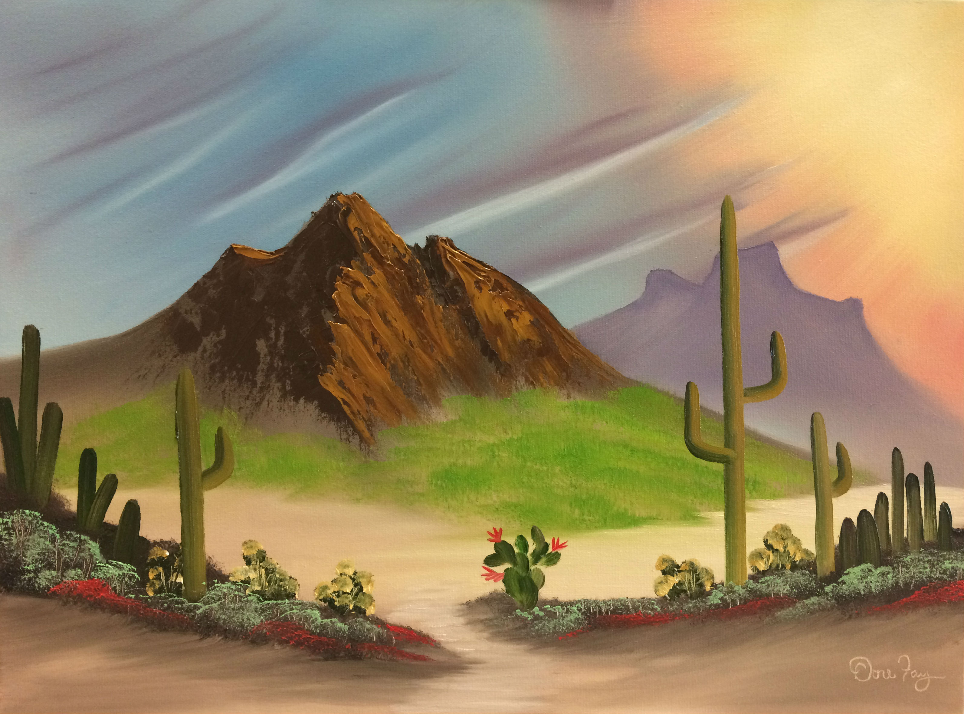 "Bob Ross painted this Southwest Brown Mountain for his PBS program ""The Joy of Painting"" during the second season of the series. This version of the painting depicts a desert scene with brown mountain, cactus and desert flowers. This is a very enjoyable painting to paint!"