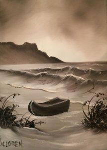 """This painting, done with the Bob Ross wet-on-wet technique, was created by a Bob Ross Certification Instructor. I call it """"Abandoned Boat"""". This painting is done with only two paint colors! Isn't it amazing the mood of the painting, the detail of the painting – all possible with only 2 colors?! This is a fun painting! We will paint this on a 11X14 stretch canvas with a 2″ border – finished painting size will be 9X12. This will give us a built in matte. This is an awesome size painting for those small wall spaces that need a little something! Great for a powder room or a wonderful, one-of-a-kind gift!"""