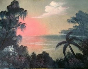 This is a Bob Ross wet-on-wet technique painting created by a Bob Ross certification instructor. This is a beautiful painting with a different composition then Bob would paint. With southern style trees covered with Spanish Moss and a palm tree near the ocean's edge. A lovey pink sky – what is that saying…. pink sky at night, sailors delight; pink sky in morning, sailor take warning. We will paint this on an 11X14 stretch canvas with a two inch border to make a lovely built in matte. Actual painting on canvas will be 9X12. It is a perfect size for someone looking for something to fit a smaller wall space! It would also make a great, one-of-a-kind gift!