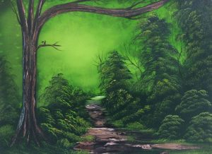 "This gorgeous painting of lush green trees deep in the forest with a secret trail is by Bob Ross from his PBS series ""The Joy of Painting"", Season 30 Episode 13 – ""Forest Edge"" and it has ""Pea Pod"" Bob's squirrel in the tree! This is a unique painting and the canvas is pre-prepped with black gesso which helps to give this painting the lush, dark and shady feel."