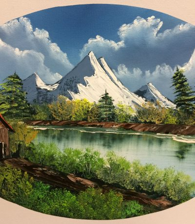 "This lovely painting Bob Ross did during season 12 of his PBS show ""The Joy of Painting"". The name of the painting is ""Mountain Reflection"" and was the second painting of the season. We will be painting this with some changes to Bob's original. This painting has the beautiful mountains that Bob was known for; as well as a lake with reflections and a cabin. What makes this painting unique is we will be painting it in an oval on a 16X20 rectangular canvas!"