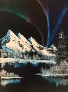 "This jaw dropping Bob Ross painting titled ""Northern Lights"" is from Season 8 of his PBS series ""The Joy of Painting"". This is a beautiful and fun painting to paint! From snow-covered mountains under the northern lights to the frozen lake! You can choose to do this with or without the cabin! This is probably the most widely known and sought after painting!"