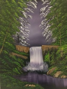 """This is a very unique painting by Bob Ross. The beautiful """"Waterfall in the Woods"""" is from Season 19 of Bob's PBS series """"The Joy of Painting"""". The beautiful purple color and lush green plants just invites you into the painting! You will learn Bob's wet-on-wet painting technique. This painting is slightly different. It will be painted on a canvas that has been covered with black gesso. And, instead of using the usual liquid white as a base we will be using liquid clear. You will learn a lot of new techniques while painting this composition. So please come and join me for a day of learning and fun!"""
