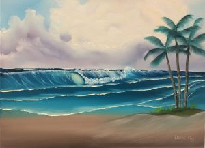 """Windy Waves"" is Bob Ross's Season 14 Episode 7 painting from his PBS series ""The Joy of Painting"". This seascape painting with three palm trees and clear blue water will make you dream of being at a tropical beach retreat! This is a lovely painting and would be a great first seascape painting! We will be using Bob's wet-on-wet technique and learn the fundamentals/structures of a wave! This will help you add to your Bob Ross skill level!"